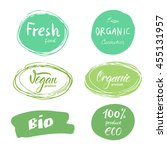 set of green logos  labels.... | Shutterstock .eps vector #455131957