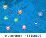 smart city line drawing... | Shutterstock .eps vector #455168803