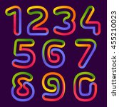 numbers set logos formed by... | Shutterstock .eps vector #455210023