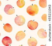 apple fruit watercolor red and... | Shutterstock .eps vector #455211043