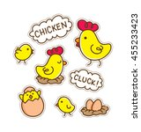 cartoon chicken patch | Shutterstock .eps vector #455233423
