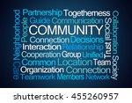 community word cloud on blue... | Shutterstock . vector #455260957