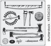 vector set of vintage carpentry ... | Shutterstock .eps vector #455261263