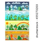 4 seasons park flat style set... | Shutterstock .eps vector #455273203