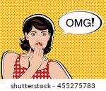 omg the woman in shock pop art... | Shutterstock .eps vector #455275783
