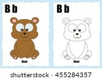 alphabet coloring book page... | Shutterstock .eps vector #455284357