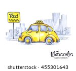 hand painted mini taxi car in... | Shutterstock . vector #455301643