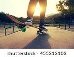 young skateboarder legs... | Shutterstock . vector #455313103