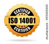 iso 14001 certified gold seal... | Shutterstock .eps vector #455345443