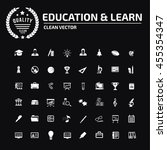 education and science icon set ... | Shutterstock .eps vector #455354347