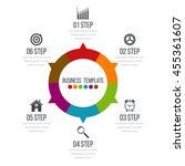 infographic design with colored ... | Shutterstock .eps vector #455361607