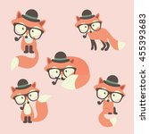 set of cute cartoon foxes in... | Shutterstock .eps vector #455393683