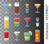 set of cocktails in transparent ... | Shutterstock .eps vector #455398027
