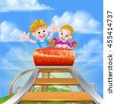 cartoon boy and girl kids... | Shutterstock .eps vector #455414737