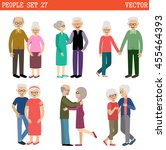 loving couples of elderly... | Shutterstock .eps vector #455464393