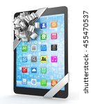 black tablet with silver bow...   Shutterstock . vector #455470537