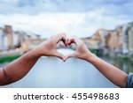 loving couple making heart with ... | Shutterstock . vector #455498683