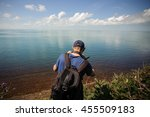 man from behind photographing... | Shutterstock . vector #455509183