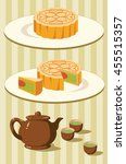 chinese moon cake and green tea ... | Shutterstock .eps vector #455515357