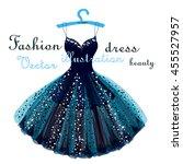 beautiful blue shiny dress hand ... | Shutterstock .eps vector #455527957