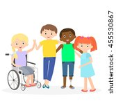 disabled kids with friends.... | Shutterstock . vector #455530867