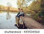 happy family spending time... | Shutterstock . vector #455534563