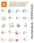 geometric leaf icon set. thin... | Shutterstock . vector #455541163