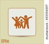 happy family icon in simple... | Shutterstock .eps vector #455554597