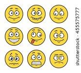 cartoon faces set. emoticons.  | Shutterstock .eps vector #455575777