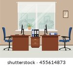 workplace for two office... | Shutterstock .eps vector #455614873
