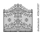 beautiful iron ornament gates | Shutterstock .eps vector #455619337