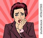 nervous business woman biting... | Shutterstock .eps vector #455619583