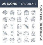 set vector line icons in flat... | Shutterstock .eps vector #455624647