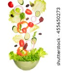 green salad flying to the bowl. ... | Shutterstock . vector #455650273