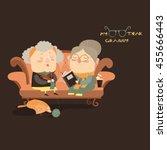 elderly women sitting on couch | Shutterstock .eps vector #455666443