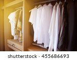 clothes hang on a shelf in a...   Shutterstock . vector #455686693