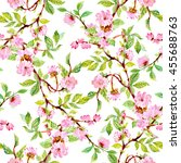 watercolor seamless floral... | Shutterstock . vector #455688763