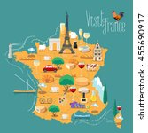 map of france vector isolated... | Shutterstock .eps vector #455690917