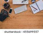 top view of stuff office... | Shutterstock . vector #455699557