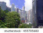 crowded hong kong scene with... | Shutterstock . vector #455705683