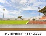 empty brown wooden table top on ... | Shutterstock . vector #455716123