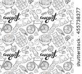 august  beachwear  bike  fruits ... | Shutterstock .eps vector #455738377