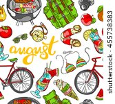 august  beachwear  bike  fruits ... | Shutterstock .eps vector #455738383