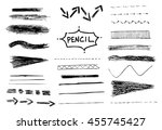pencil stroke set. vector... | Shutterstock .eps vector #455745427