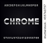 chrome alphabet. type letters... | Shutterstock .eps vector #455763757