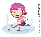 hockey player. vector... | Shutterstock .eps vector #455788897