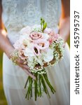 wedding flowers  woman holding...   Shutterstock . vector #455795737