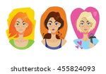 set of beautiful girls in the... | Shutterstock .eps vector #455824093