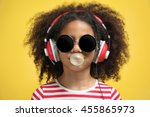 afro american little girl with... | Shutterstock . vector #455865973