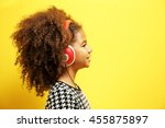 afro american little girl with... | Shutterstock . vector #455875897